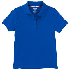 French Toast Short Sleeve Interlock Polo With Picot Collar Short Sleeve Solid Polo Shirt - Preschool Girls