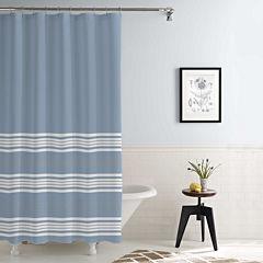 Pacific Coast Textiles Waterproof Racer Stripe Printed Shower Curtain