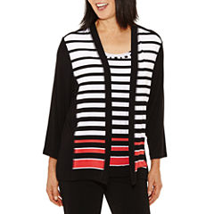 Alfred Dunner Saratoga Springs 3/4 Sleeve Stripe Layered Top