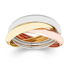 Made in Italy 10K Gold Tri-Color Roller Ring