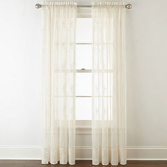 Liz Claiborne® Lisette Ogee Embroidery Sheer Rod-Pocket Curtain Panel