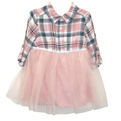 Lilt Elbow Long Sleeve Tulle Dress - Baby Girls