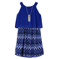 Byer Navy Lace Chiffon Popover Dress - Girls Reg. 7-16