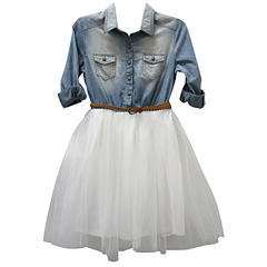 Arizona Belted 3/4 Sleeve Roll Tab Sleeve Shirt Dress - Big Kid Girls