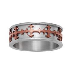 Mens Stainless Steel & Brown IP Cross Ring