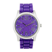 Womens Glitter Dial Silicone Strap Watch