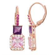 Lab-Created Pink Sapphire & Amethyst 14K Rose Gold Over Silver Leverback Earrings