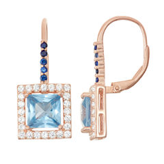 Lab-Created Aquamarine & Sapphire 14K Rose Gold Over Silver Leverback Earrings
