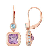 Genuine Amethyst & Blue Topaz 14K Rose Gold Over Silver Leverback Earrings