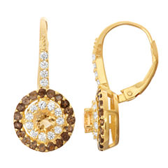 Genuine Citrine & Smoky Quartz 14K Gold Over Silver Leverback Earrings