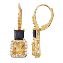 Genuine Citrine & Lab-Created Sapphire 14K Gold Over Silver Leverback Earrings