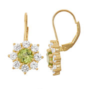 Genuine Peridot & Lab-Created White Sapphire 14K Gold Over Silver Leverback Earrings