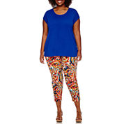 Liz Claiborne® Short-Sleeve Butterfly Back Tee or Print Slim Leg Crop Pants - Plus
