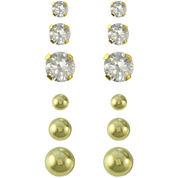 14K Gold & Cubic Zirconia Ball 6-pr. Earring Set