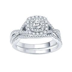 Modern Bride® Signature 3/4 CT. T.W. Certified White & Color-Enhanced Blue Diamond RIng Set