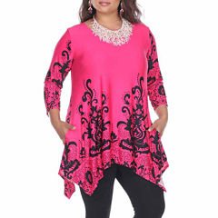 White Mark Yanette Tunic Top Plus