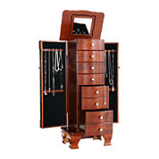 Kathy Ireland® Antique Walnut-Finish Jewelry Armoire