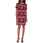 London Style Collection Short-Sleeve Star Tile Shift Dress