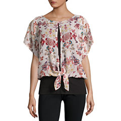Alyx Short Sleeve Round Neck Woven Floral Blouse