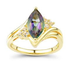 Genuine Mystic Topaz & Lab-Created White Sapphire 14K Gold Over Silver Ring