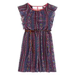Speechless® Aztec Flutter-Sleeve Chiffon Dress - Girls Plus