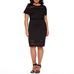 Boutique+ Short-Sleeve Illusion Scuba Dress - Plus