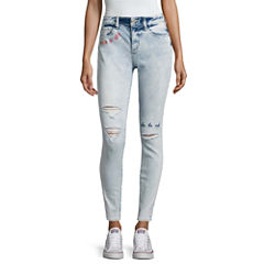 Arizona Embroidered Writing Jeans-Juniors