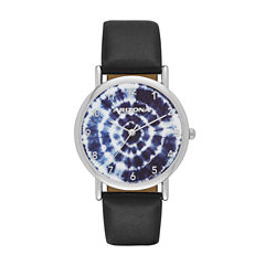 Arizona Womens Silver Tone Tie-Dye Dial Navy Strap Watch