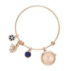 Arizona Womens Rose Gold Tone Bangle Watch