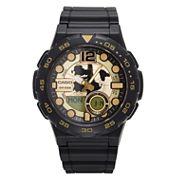 Casio® G-Shock Mens Black and Gold  Analog/Digital Dive Strap Watch AEQ100W-1AV