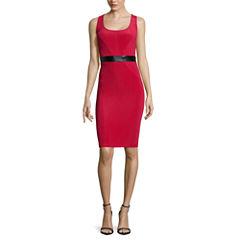 Bisou Bisou® Sleeveless Faux Leather-Waist Dress