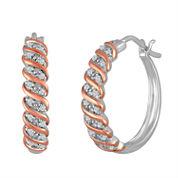 1/10 CT. T.W. Diamond 14K Rose Gold Over Silver Hoop Earrings