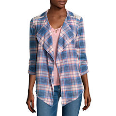 Self Esteem® Long-Sleeve Plaid Shirt and Lace-Up Tank Top
