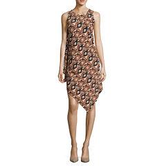 MSK Sleeveless Handkerchief-Hem Sheath Dress