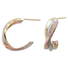14K Tri-Tone Gold Crossover Hoop Earrings