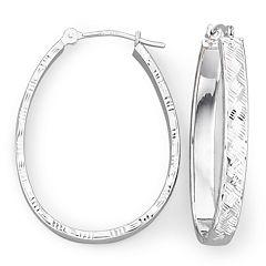 14K White Basketweave Hoop Earrings