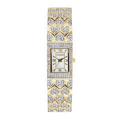 Elgin® Womens Crystal Hearts Rectangular Bracelet Watch