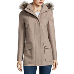 a.n.a® Faux-Fur Trim Casual Zip Wool-Blend Coat