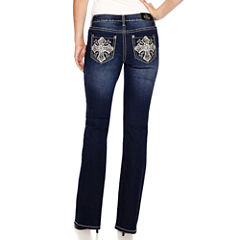 Love Indigo Cross Embellished Back Pocket Bootcut Jean