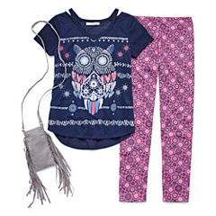 SE Short-Sleeve Graphic Cutout Leggin Set w/ Purse - Girls' 7-16 and Plus