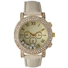 Olivia Pratt Womens Tan Crystal Accent Leather Strap Watch 14798