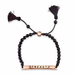 Footnotes Footnotes Womens Black Brass Bolo Bracelet