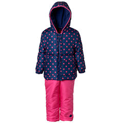 Pink Platinum Heavyweight Hearts Snow Suit-Toddler Girls