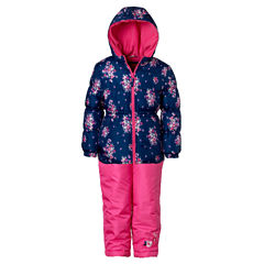 Pink Platinum Heavyweight Floral Snow Suit-Toddler Girls