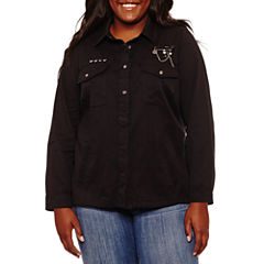 Rewind Long Sleeve Button-Front Shirt-Juniors Plus