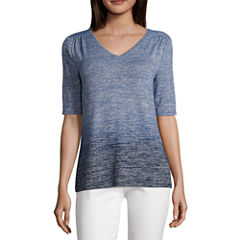 Liz Claiborne Elbow Sleeve V Neck T-Shirt-Womens