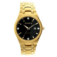 Elgin® Mens Gold Tone Diamond Dial Bracelet Watch Fg8021Gt