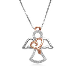 Hallmark Diamonds 1/10 CT.T.W. Diamond Sterling Silver With 14K Rose Gold Accent Pendant Necklace