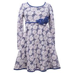 Bonnie Jean® Long-Sleeve Jacquard Floral Skater Dress - Girls 7-16