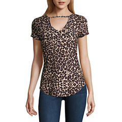 Almost Famous Short Sleeve V Neck Jersey Leopard Blouse-Juniors